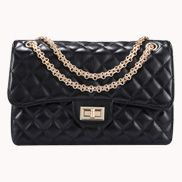 Adele Flap Medium Bag Faux Leather Black Gold Hardware