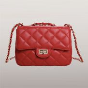 Adele Flap Mini Bag Faux Leather Red