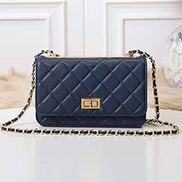 Adeline Lamb Skin Leather Shoulder Bag Blue