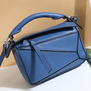 ADRIENNE MINI GEOMETRY LEATHER BAG BLUE