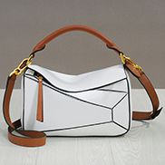 Adrienne Geometry Leather Shoulder Bag Gold Hardware White