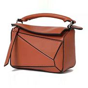ADRIENNE MINI GEOMETRY LEATHER BAG BROWN