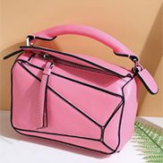 ADRIENNE MINI GEOMETRY LEATHER BAG HOT PINK