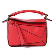 ADRIENNE MINI GEOMETRY LEATHER BAG RED