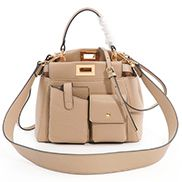 Carrie Leather Bag With Pocket Beige