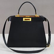 Carrie Leather Bag With Gold Hardware Black