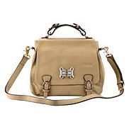 Alisha Top Handle And Cross Body Leather Bag Beige