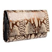 Brighton Exotic Snake Print Leather Large Wallet Beige