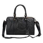 Eleonora Cowhide Leather Keepall Bag Black
