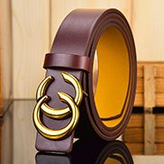 DOUBLE GOLD C BUCKLE BELT BROWN