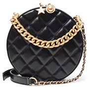 Benita Calf Leather Round Shoulder Bag Black