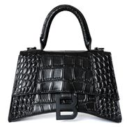 Bonnie Croc Leather Shoulder Bag Black