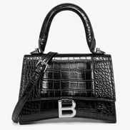 Bonnie Vegan Croc Leather Shoulder Bag Black