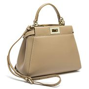 Carrie Smooth Leather Mini Bag Beige