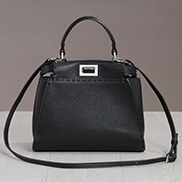 Carrie Leather Bag With Stitches Black