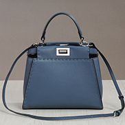 Carrie Leather Bag With Stitches Blue