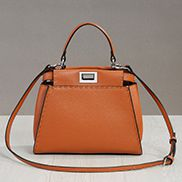 Carrie Leather Bag With Stitches Camel