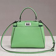 Carrie Leather Bag With Stitches Green