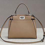 Carrie Leather Bag With Stitches Khaki