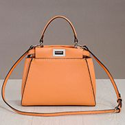 Carrie Leather Bag With Stitches Orange