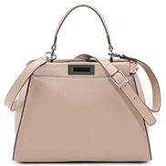 Carrie Leather Bag With Black Hardware Beige