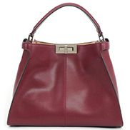 Carrie Vertical Leather Bag Burgundy