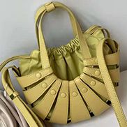 The Coquille Leather Shoulder Bag Yellow