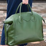 Christi Soft Leather Large Bag Green