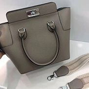 Deborah Leather Shoulder Bag Grey