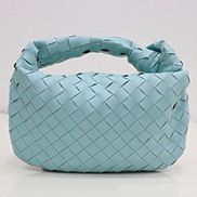 Dina Small Knotted Intrecciato Leather Tote Blue