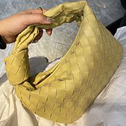 Dina Small Knotted Intrecciato Leather Tote Yellow