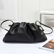 Dina Leather Clutch Shoulder Bag Black