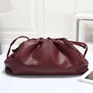 Dina Leather Clutch Shoulder Bag Burgundy