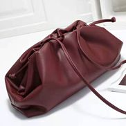 Dina Leather Large Clutch Shoulder Bag Burgundy
