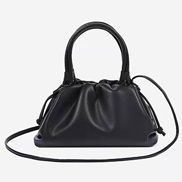 Dina Leather Clutch Top Handle And Shoulder Bag Black