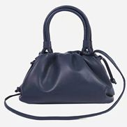 Dina Leather Clutch Top Handle And Shoulder Bag Blue
