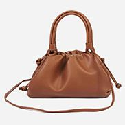 Dina Leather Clutch Top Handle And Shoulder Bag Brown