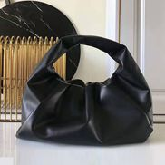 Dina Leather Shoulder Hobo Bag Black