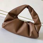 Dina Small Leather Shoulder Hobo Bag Brown