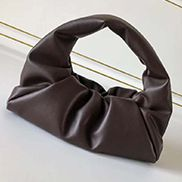 Dina Small Leather Shoulder Hobo Bag Chocolate