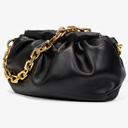 Dina Vegan Leather Clutch Chain Bag Black