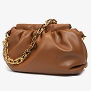 Dina Vegan Leather Clutch Chain Bag Brown