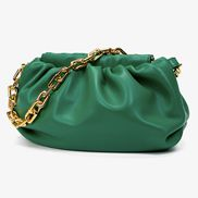 Dina Vegan Leather Clutch Chain Bag Green