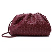 Dina Woven Leather Clutch Shoulder Bag Burgundy