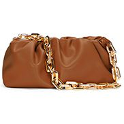 Dina Leather Clutch Chain Bag Camel