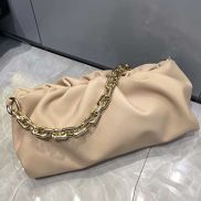 Dina Leather Clutch Chain Bag Cream