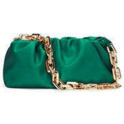 Dina Leather Clutch Chain Bag Green