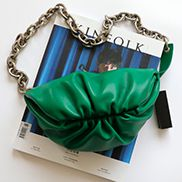 Dina Leather Chain Belt Bag Green