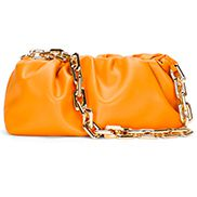 Dina Leather Clutch Chain Bag Orange