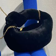 Dina Small Knotted Shearling Top Handle Bag Black